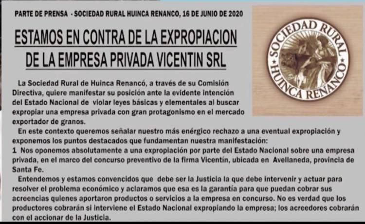 LA SRA DE HUINCA RENANCÓ RECHAZÓ LA INTERVENCIÓN DE VICENTIN