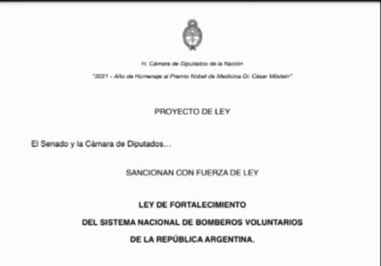 BOMBEROS: PROYECTO DE LEY PARA QUE SUS SERVICIOS SEAN GRATIS