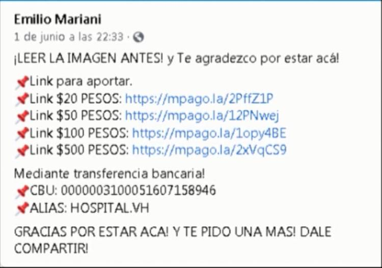 INICIATIVA SOLIDARIA PARA RECAUDAR FONDOS PARA EL HOSPITAL