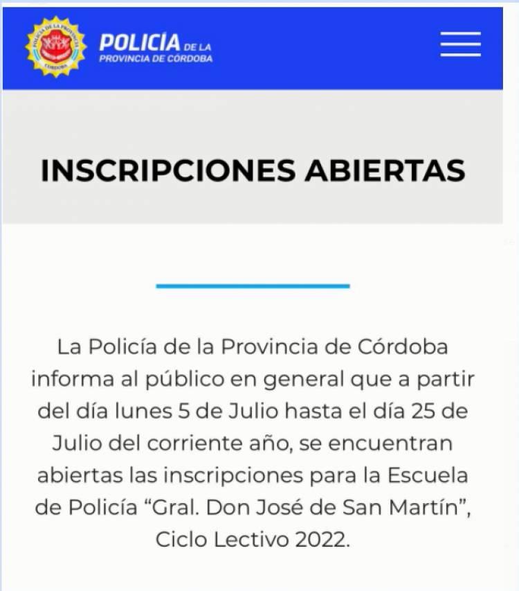 APERTURA DE INSCRIPCIONES PARA LA POLICÍA DE CÓRDOBA